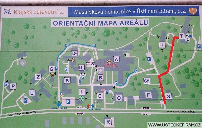 Mapa areálu nemocnice Ústí nad Labem